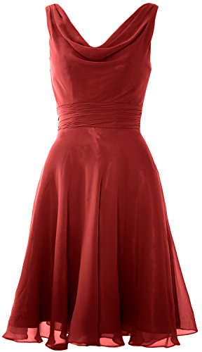 MACloth Elegant Cowl Neck Cocktail Dress Short Wedding Party Bridesmaid Gown Burgundy