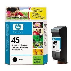 HP Cartucho negro de inyección de tinta HP 45, alta capacidad 45 Inkjet Print Cartridges, de -15 a 35° C, 0.15 kg (0.331 libras)