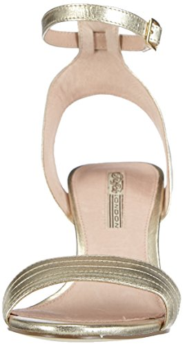 Buffalo London BU0076 KID LEATHER Damen Knöchelriemchen Sandalen Gold (GOLD 01)