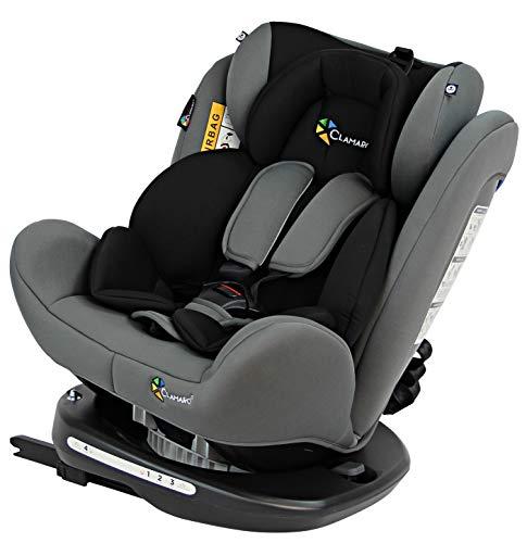 Clamaro 'Ranger 360' 4in1 Isofix Autokindersitz Gruppe 0+, I, II und III (0-36 kg) 360° drehbar, mitwachsender Baby- und Kinderautositz 0 bis 12 Jahre, verstellbare Kopfstütze und Rückenlehne, silber
