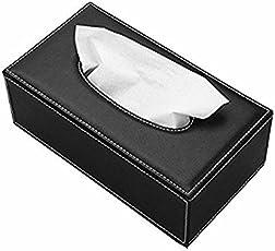 Delhi Traderss Black Leather Finish Tissue Holder Box With Free Tissues