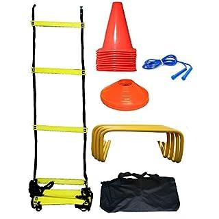 CW Soccer Football Pro Training Kit complet pour la vitesse et l'agilité formation Excersise Y Compris (échelle + Marquage au sol de forme Cons + Corde à sauter haies + sucer Cônes)