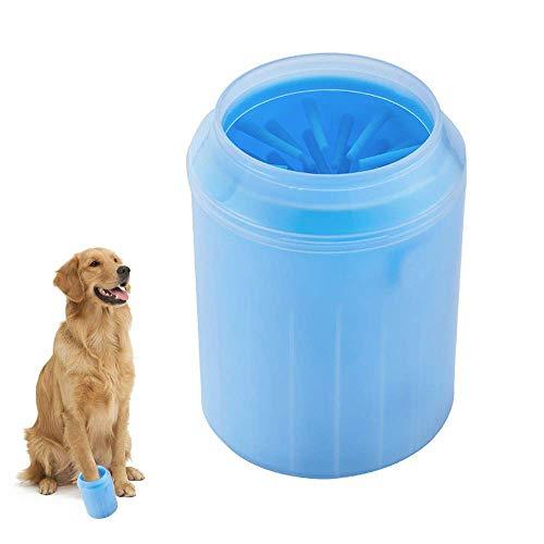 Amasawa Hunde Pfote Reiniger,Pfotenreiniger Tragbarer Pet Reinigung Pinsel Tasse Hundepfote Reiniger Fuß Reinigungsbürste Fuß Waschen Tasse Für Hunde Katzen (Blau) -