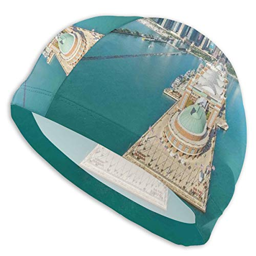 GUUi Swimming Cap Elastic Swimming Hat Diving Caps,Aerial Panorama of Navy Pier Marine Metropolis Big City Silhouette View,for Men Women Youths -