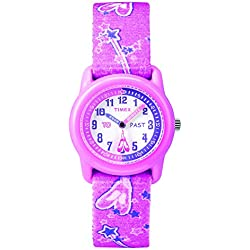 Timex T7B1514E - Reloj de cuarzo para niñas, correa de textil, color rosa