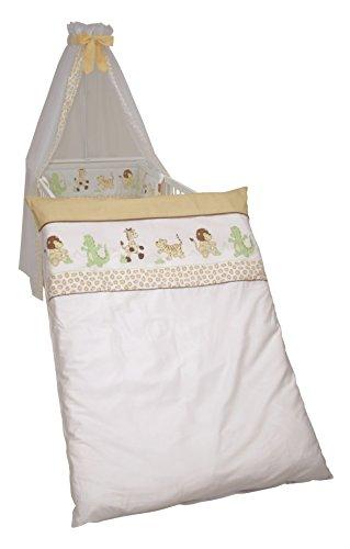 roba Kinder-Bettgarnitur 4-tlg, Babybett-Ausstattung 'Safari', Bettset 4-teilig: Bettwäsche 100x135 (Decke & Kissen), Nestchen, Himmel