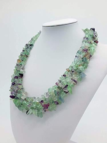 Collana girocollo donna fluorite, pietre dure, gemme naturali, 4 fili, 45 cm, chiusura t-bar