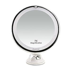 Auxmir Kosmetikspiegel LED Beleuchtet mit 7X Vergrößerung, Saugnapf und 2 Helligkeitsstufen, 360° Schwenkbar, Makeup…