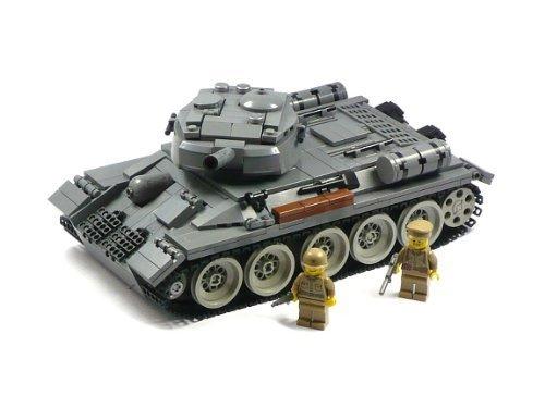 CUSTOM T34-85 Sovjet Panzer Tank 2 Soldats WW2 WWII en LEGO Pièces...