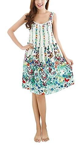 Cotton Nightdress, Bedruckte Blume Ärmelloses Knielänge Nightgown Schlafkleid Chemise Babydoll Pyjamas Full Slip Nightshirt Nachtwäsche Nachtwäsche für Frauen Damen (Weiche Womens Chemise)
