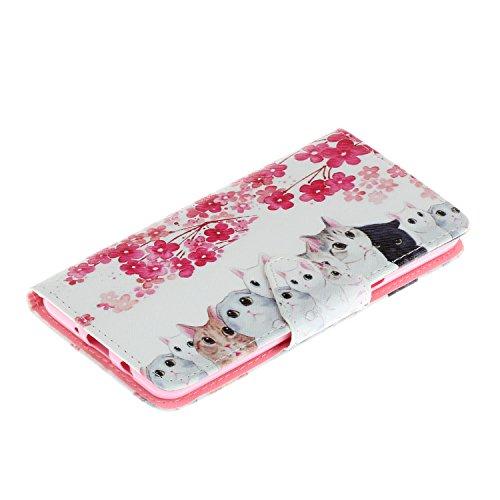 iphone SE 5 5S 5G Cover,Flip Cover Portafoglio Guscio Protettiva Custodia in Pelle per iphone SE 5 5S 5G Wallet Case Casi Caso Con carte di credito slot,Cozy Hut Elegante borsa Custodia in Pelle Prote gattino