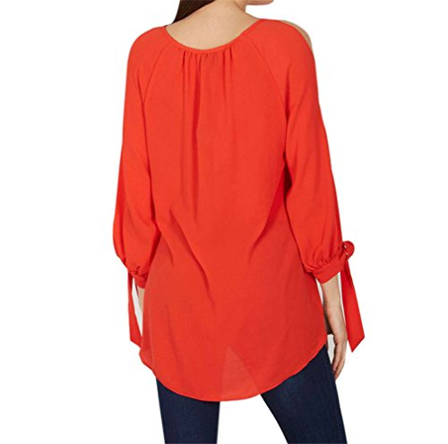 Ghope Damen Chiffon T-Shirt Schulterfrei Spliss Lange Ärmel mit Schleife Oversize Einfarbig Lose Fit Asymmetrisch Hemd,S-6XL Orange