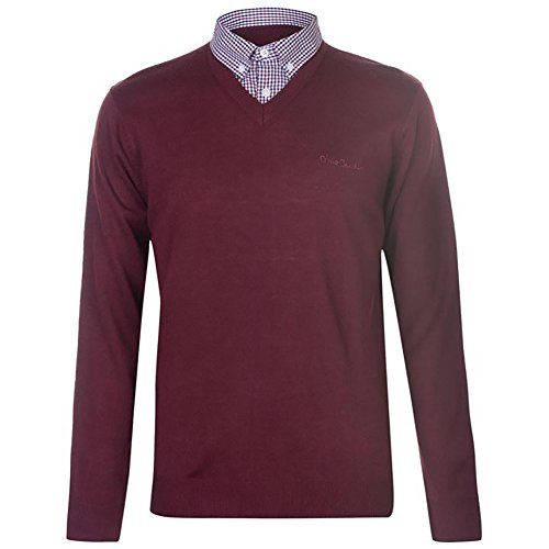 Pierre Cardin Mens New Season Mock V-Neck Knitted Jumper with Shirt Collar Insert (Large, Dark Red)
