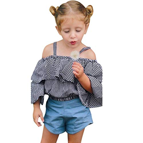 Beikoard Babykleidung 2PC Outfits Sets Baby Mädchen gekräuselten Plaid Bow PP Laterne Shorts Neugeborene Mädchen Outfits Kleidung