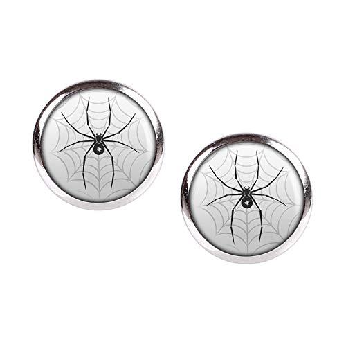 Mylery Ohrstecker Paar mit Motiv Schwarze Spinne Stern Netz silber 12mm (Schmuck Bitsy Itsy)