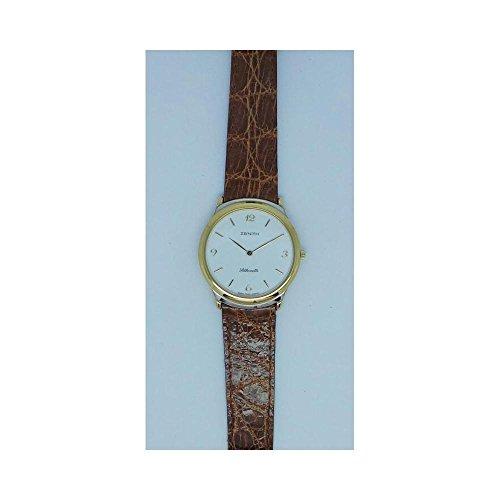 Uhr Zenith Silhouette 4190433605Quarz (Batterie) Stahl vergoldet gelb Quandrante weiß Armband Leder