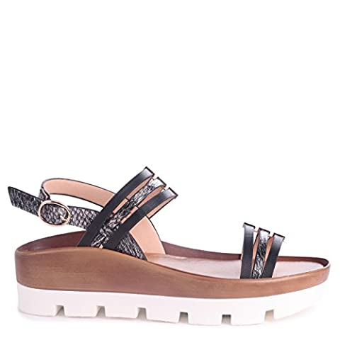 LUCY - Chunky Platform Sandal with Wooden Effect Cleated Sole & Snake Print Detail
