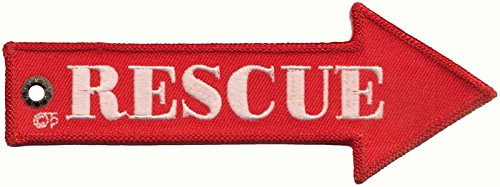 Royal Air Force RAF 'Rescue' Double-Sided Arrow Shaped Embroidered Cloth Keyring