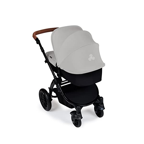 Ickle Bubba Stroller Stomp V3 iSize All-in-One iSize Baby Travel System | Car Seat w/ Isofix Base, Rear and Forward-Facing Pushchair, Carrycot | Silver on Black Frame Ickle Bubba All-IN-ONE TRAVEL SYSTEM: This stylish and attractive two tone complementary design features carrycot, reversible pushchair, and Mercury i-Size car seat. Easy-click release allows for quick transitions between car and stroller. Includes an ISOFIX Base. LIGHTWEIGHT WITH PUNCTURE FREE FOAM TIRES: : 6.5kg chassis with foam wheels allows for a smooth ride, includes an easy press and release single step foot brake locking system FORWARD AND PARENT FACING TODDLER SEAT WITH ALL WEATHER PROTECTION: Multi-position recline allows your child to lie comfortable for naps or sit upright to take in the sights. Protect from rain or shine with a collapsible weather cover. 3