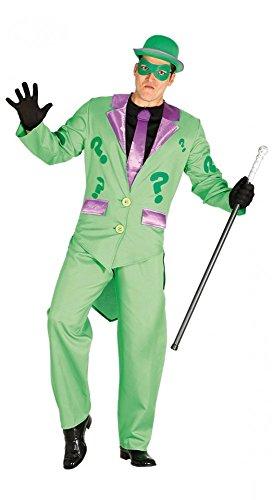 Für Herren Kostüm Superhelden - shoperama Riddler Herren-Kostüm Jacket Hose Batman Gotham Superheld Superschurke, Größe:L