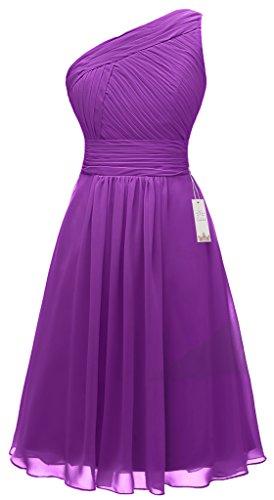 Eudolah Robe de soiree courte asymetrique uni en mousseline avec effet plisse Femme Violet