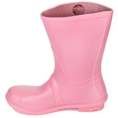 SPYLOVEBUY CHANTILLY Femmes Boucle Plates Bottes de Pluie Pink Calf
