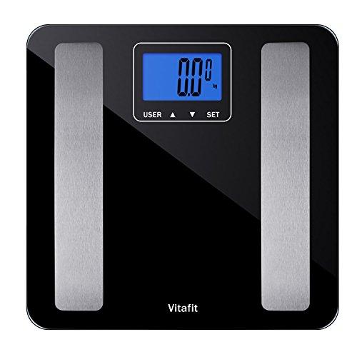 Vitafit Digitale Personenwaage Körperfettwaage Waage Körperanalysewaage mit gehärtetem Glas, Messen bis 180kg Gewicht Körperfett Körperwasser Knochenmaß BMI,große LCD Anzeige, Schwarz