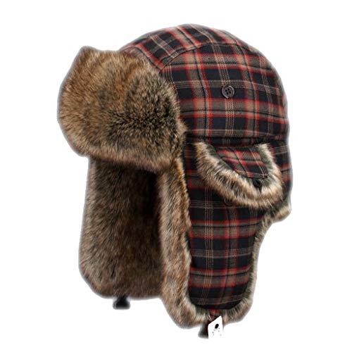Nosterappou Chapeau à carreaux décontracté élégant, bonnet en coton avec capuchon de ski froid, chapeau de cache-oreilles pour cycliste en hiver, menton unisexe avec sangle de réglage, excellent cadea