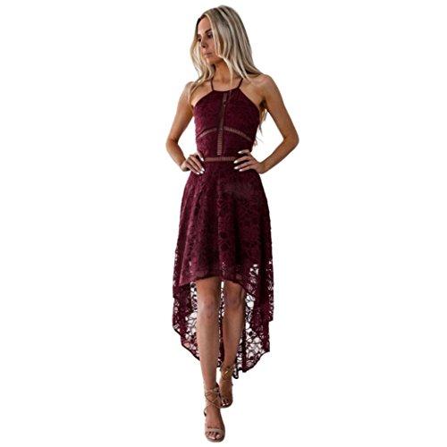 05b045d6c1a Damen Sommerkleider Frauen Spitzenkleid Dress Langarm Swing Kleider A Line  Vintage Skaterkleid Partykleid Cocktailkleid Lace Backlos