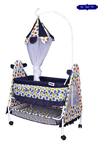 Blue White Royal Crib and Cradle with Swing ( Baby jhula ) Mosquito Net and Multiple Function.