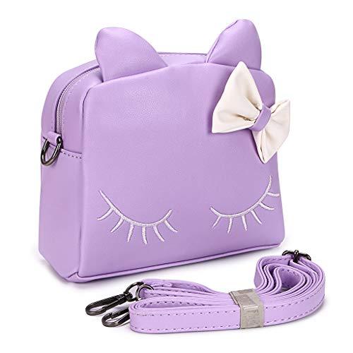 BTSKY PU kleine Mädchen Crossbody Umhängetasche - süße Umhängetasche Geldbörsen Tasche Snack Bag Rucksack für Kleinkind Kinder, beste Geschenk für kleine Mädchen (lila Katze)