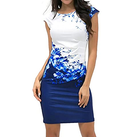 Moresave Women's Sleeveless Floral Pencil Dress Party Mini Dress Plus size