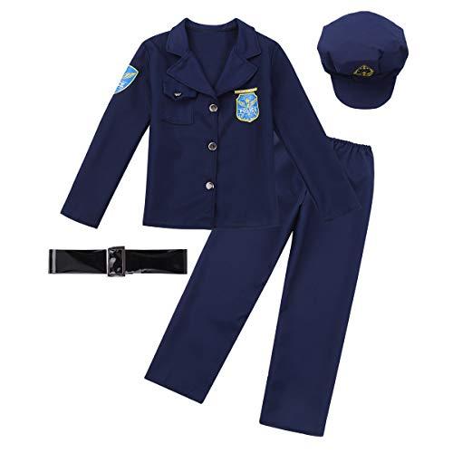 dPois Unisex Kinder Kostüm Polizei Police Kostüm Polizistin Kostüm Kleinkind Outfits Jacke+Hose+Hut+Gürtel Cosplay Halloween Fasching Karneval Kostüm Gr.104-140 Marineblau 104-116/4-6 Jahre (Polizistin Halloween Outfit)