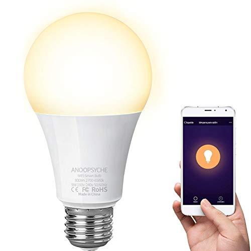 Bombilla Inteligente LED 9W WiFi Lámpara ANOOPSYCHE LED WiFi Smart Bulb E27 no requiere Hub 2700K-6500K 60W Equivalente 800LM Bombilla con Amazon Echo y Google Home 1 Pack