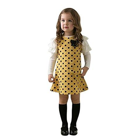 Longra Kinder Mädchen Herbst Kleidung Dot Bogen Prinzessin Mädchen Kleid Sundress Kinder Hochzeit Ballkleid Festkleid Partykleider(2-7 Jahre) (100CM 3Jahre, Yellow)