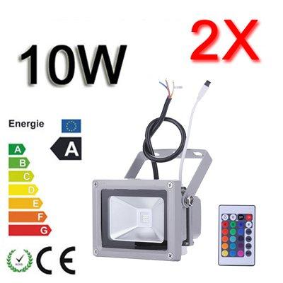 *TOP Leistung**2er SET*10W LED RGB Strahler Fluter Licht Flutlicht IP65/CE Spot Scheinwerfer mit Fernbedienung Farbwechsel Wandstrahler Außenstrahler von Himanjie bei Lampenhans.de