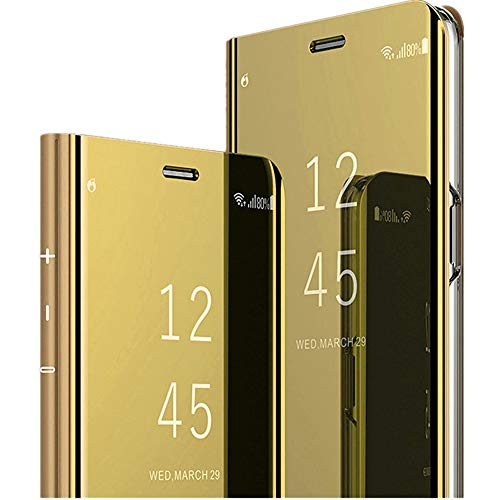 Galaxy A50 Hülle Mirror Samsung Galaxy A40 Handyhülle Flip Clear View Samsung Galaxy A30 Spiegel Schutzhülle mit Standfunktion Case Cover PU Handy Schutz Handyhülle (Samsung Galaxy A50, Gold) Gold Handy Cover