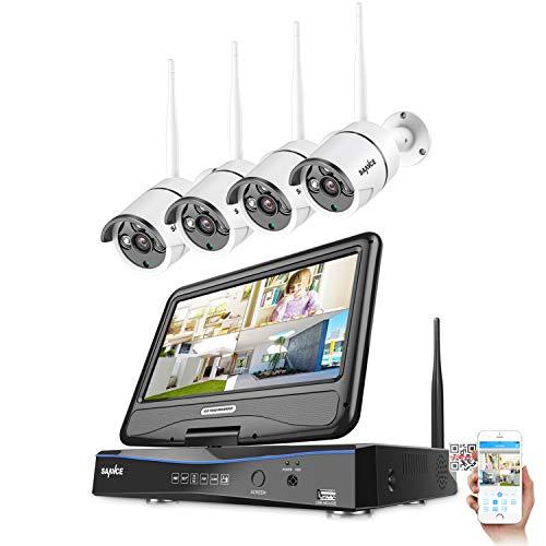 SANNCE 4CH 720P HD Funk Überwachungskamera Set mit 10,1 Zoll Monitor 4CH Wireless NVR Recorder mit 4 x 720P Kabellos Außen IP Kamera System ohne Festplatte, 30M IR Nachtsicht