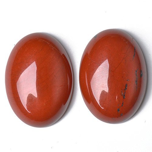 Charming beads 1 x rosso diaspro 18 x 25mm cabochon ovale - (ca16636-6)