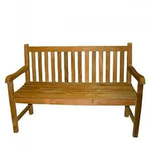 Teak Gartenbank Picadelly 120cm Teakholz Holz mit Armlehne Holzbank Bank