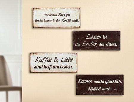 Schild Weisheit Küche/Essen mit Spruch: Kaffee & Liebe sind heiß ...