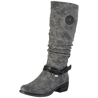 Rieker Damen 93159 Kurzschaft Stiefel, Grau (Smoke/black/Schwarz), 39 EU