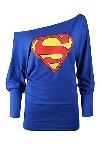 Damen Top schulterfrei Batman Superman Comic Held langärmelig Flügelärmel, Blue-Superman Print, Übergröße (EU 44/46)