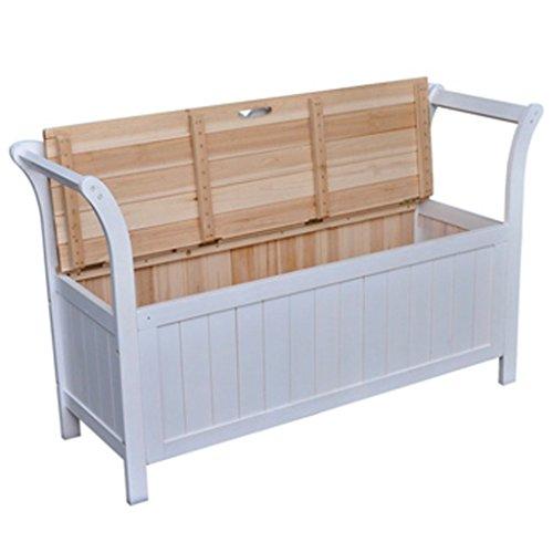 Festnight Sitzbank Truhenbank Flurbank aus Holz mit Speicherraum für Zuhause Weiß 126 x 42 x 75 cm (B x T x H) - 2