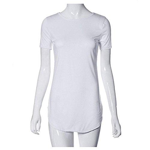 QingJiu Sexy Frauen Tops Kurzarm Seitenschlitz Lässige T-Shirt Party Minikleid