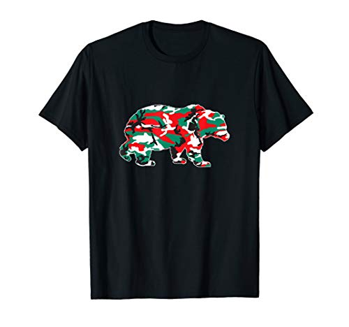 Christmas Camo Bear Red Green White Camouflage Pajama Family T-Shirt (Woodland T-shirt Camouflage Kids)
