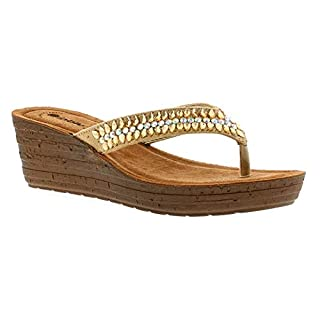 INBLU Instyle Womens Synthetic Material Wedge Sandals Gold - 7 UK
