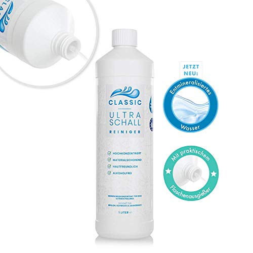 Classic Ultraschallreiniger Konzentrat 1000ml - Reinigungskonzentrat inkl. Flaschenausgießer für jedes Ultraschallreinigungsgerät - Ultraschall Reiniger für Brillen (1 Liter Classic)