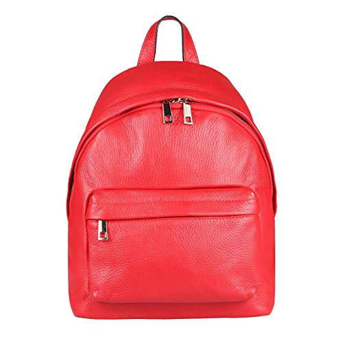 OBC Made IN Italy Damen Echt Leder Rucksack Cityrucksack Schultertasche Backpack Tasche Daypack Handtasche Umhängetasche Ledertasche Lederrucksack (Rot 26x30x11)