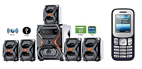 IKALL 5.1 Channel Bluetooth IK-222 Home Theater System with 1.8 inch Basic Mobile Phone (Dark Blue)